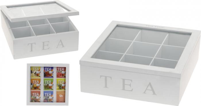 Cutie ceai, 9 compartimente, din MDF, culoare alba, 23x23x9 cm [3]