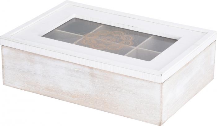 Cutie ceai alba din MDF 6 compartimente 24x16x7 cm 0