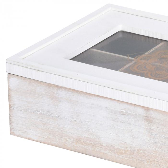 Cutie ceai alba din MDF 6 compartimente 24x16x7 cm 3
