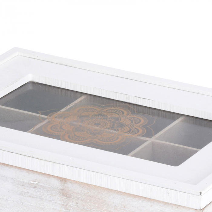 Cutie ceai alba din MDF 6 compartimente 24x16x7 cm 5