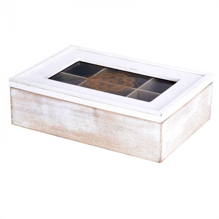Cutie ceai alba din MDF 6 compartimente 24x16x7 cm 2