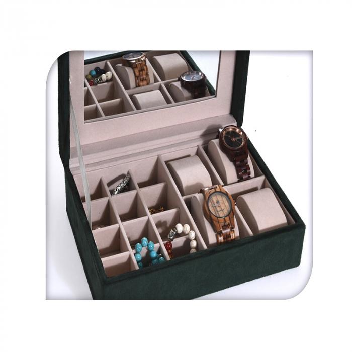 Cutie de Bijuterii si Ceasuri cu oglinda, culoare Verde inchis, captuseala Catifea, 25x16x7cm 2