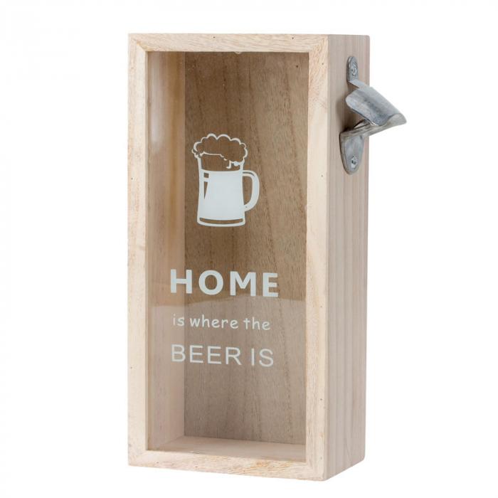 Cutie decorativa din lemn, pentru capace de bere cu deschizator, 30x12.5 cm [2]