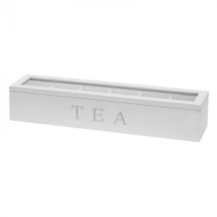 Cutie pentru depozitare pliculete ceai, 6 compartimente, cadru lemn alb, capac transparent, 4.3X9X8.7cm 2