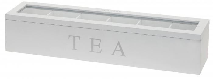 Cutie pentru depozitare pliculete ceai, 6 compartimente, cadru lemn alb, capac transparent, 4.3X9X8.7cm 0