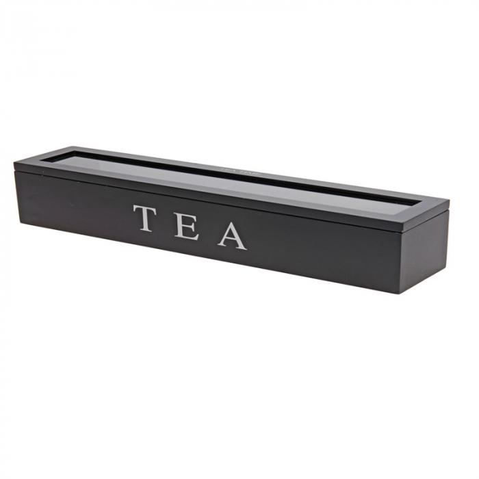 Cutie depozitare ceai 6 compartimente MDF 43x9x8.7cm negru 0