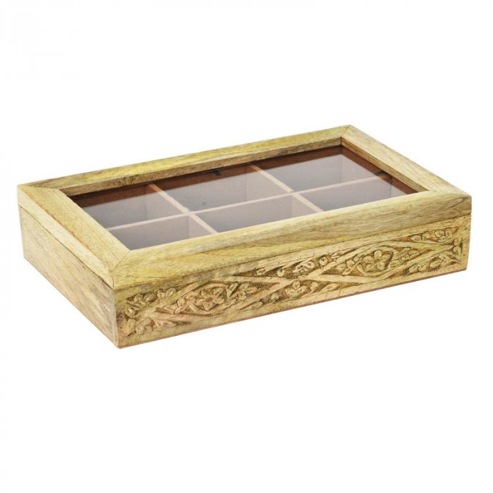 Cutie depozitare ceai din lemn de Mango, 6 compartimente 26.5x16.5x7.5cm 1