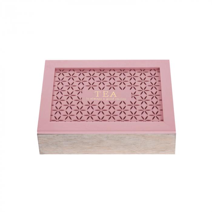 Cutie depozitare ceai din MDF 6 compartimente 24x16.5x6.5 cm culoare roz 0