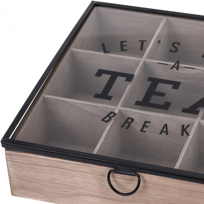 Cutie depozitare ceai din MDF 9 compartimente 24X24X7 cm 1