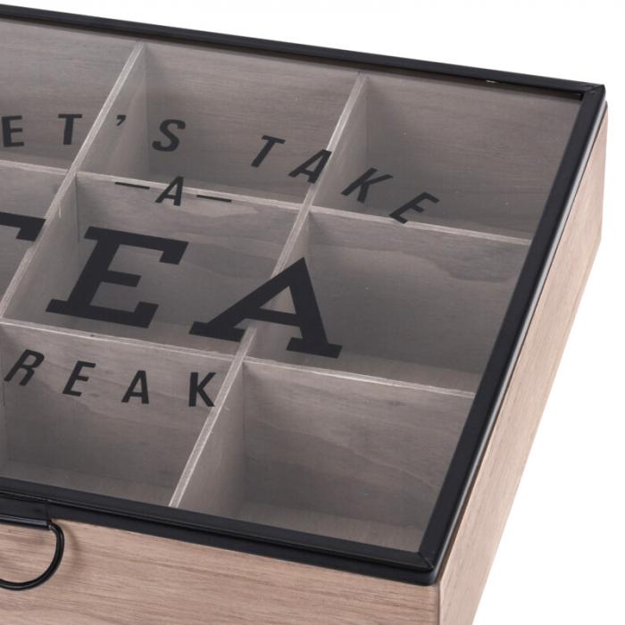 Cutie depozitare ceai din MDF 9 compartimente 24X24X7 cm 3