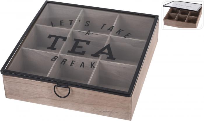 Cutie depozitare ceai din MDF 9 compartimente 24X24X7 cm 5