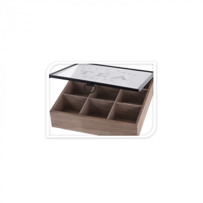 Cutie depozitare ceai din MDF 9 compartimente 24X24X7 cm 6