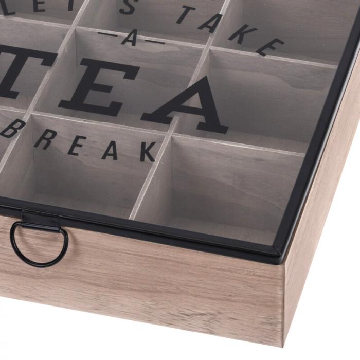 Cutie depozitare ceai din MDF 9 compartimente 24X24X7 cm 2