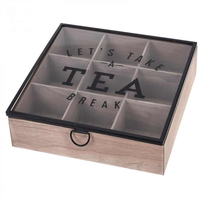 Cutie depozitare ceai din MDF 9 compartimente 24X24X7 cm 0