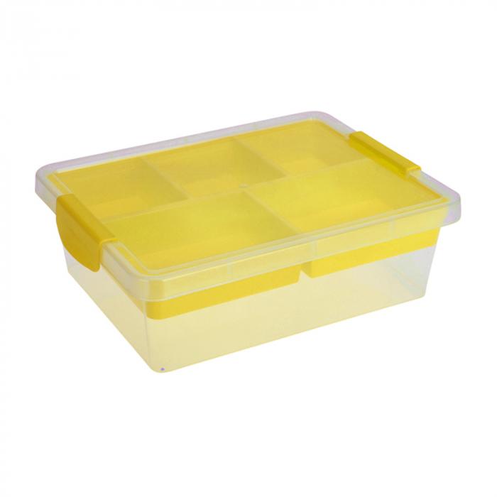 Cutie depozitare cu compartimente Dim 30x30x11 cm polipropilena G 390g culoarea galbena 0