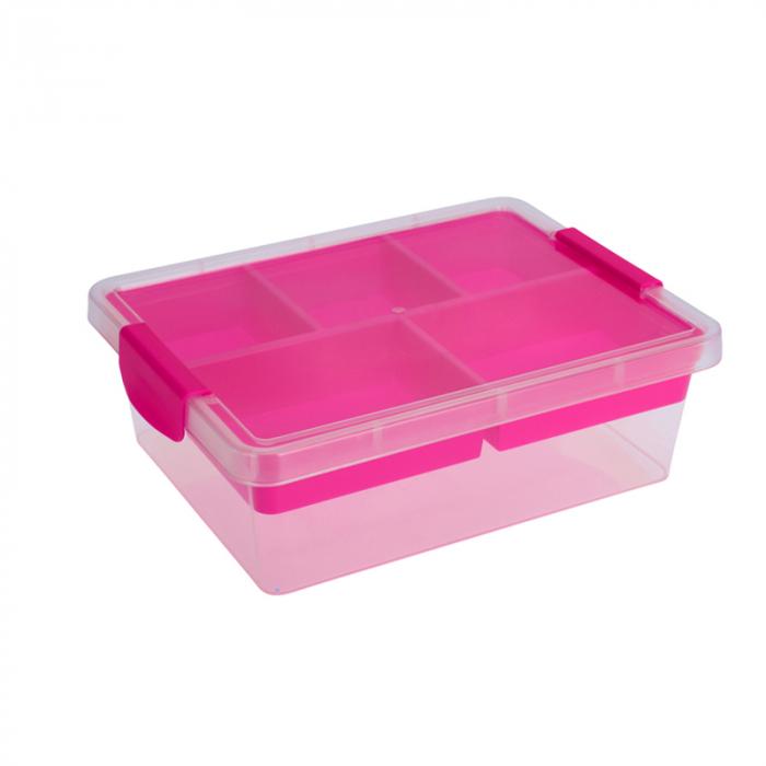 Cutie depozitare cu compartimente Dim 30x30x11 cm polipropilena G 390g culoarea roz 0