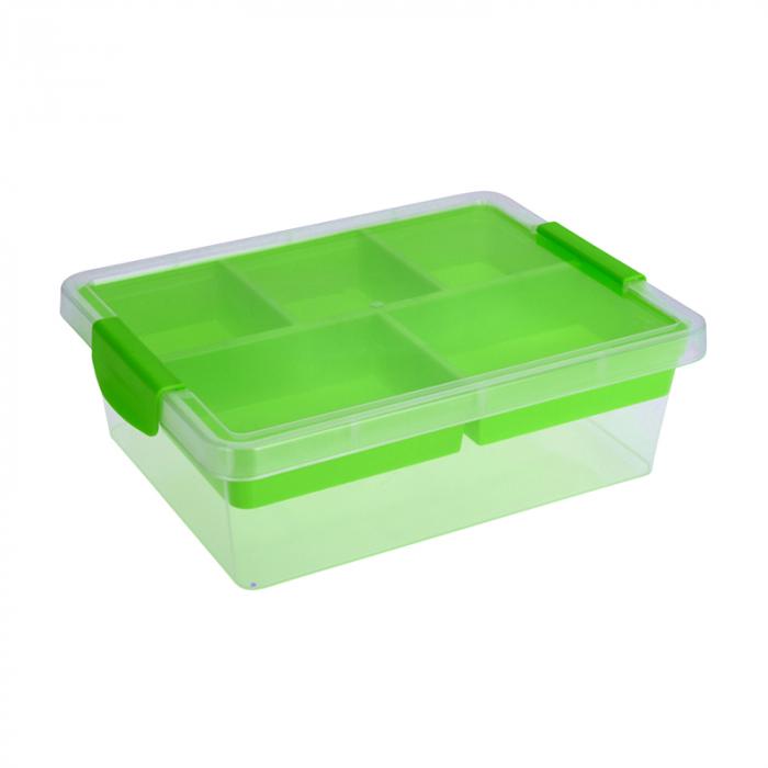 Cutie depozitare cu compartimente Dim 30x30x11 cm polipropilena G 390g culoarea verde 2