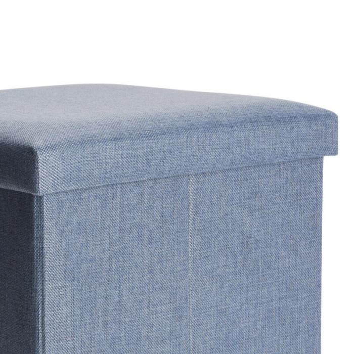 Cutie depozitare poliester tip taburet, 38x38x38 cm, Greutate 2 kg, culoare albastu [3]