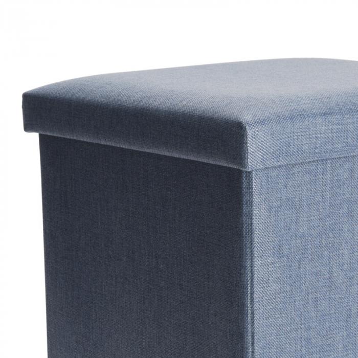 Cutie depozitare poliester tip taburet, 38x38x38 cm, Greutate 2 kg, culoare albastu [2]
