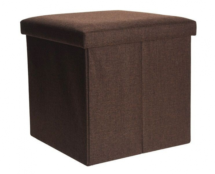 Cutie depozitare poliester tip taburet 38x38x38 cm Greutate 2 kg culoare maro 0