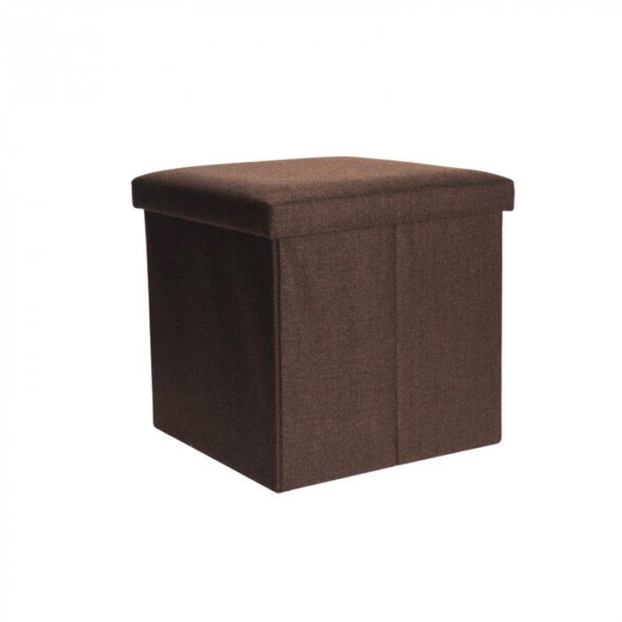 Cutie depozitare poliester tip taburet 38x38x38 cm Greutate 2 kg culoare maro 1