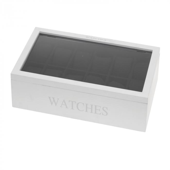 Cutie MDF pentru 12 ceasuri culoare alba, dimensiune 34.2X20.4X8.7 cm 1