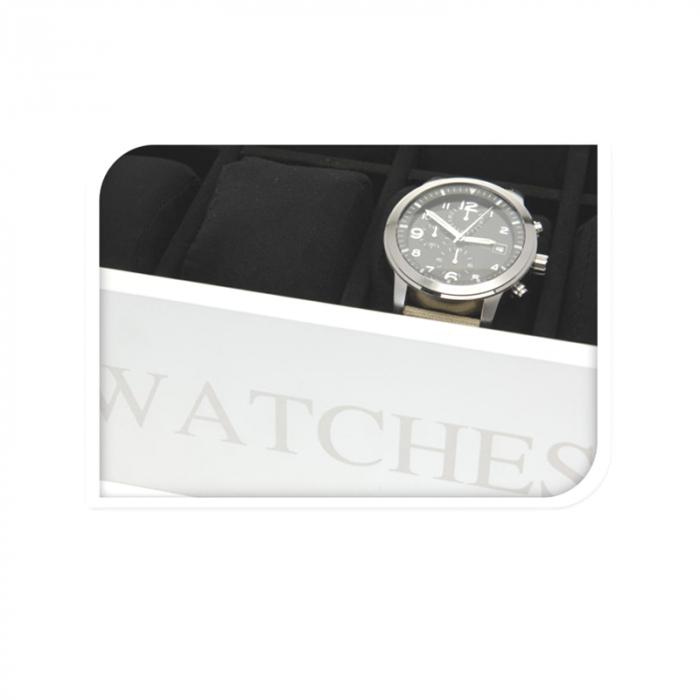 Cutie MDF pentru 12 ceasuri culoare alba, dimensiune 34.2X20.4X8.7 cm 3
