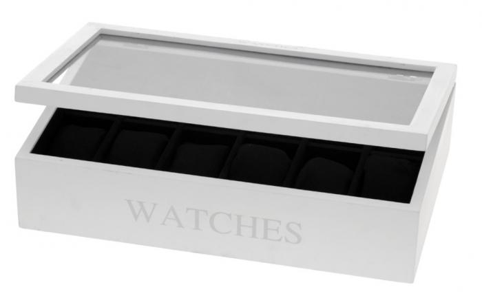Cutie MDF pentru 12 ceasuri culoare alba, dimensiune 34.2X20.4X8.7 cm 2
