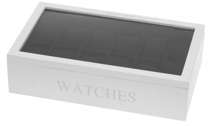 Cutie MDF pentru 12 ceasuri culoare alba, dimensiune 34.2X20.4X8.7 cm 0