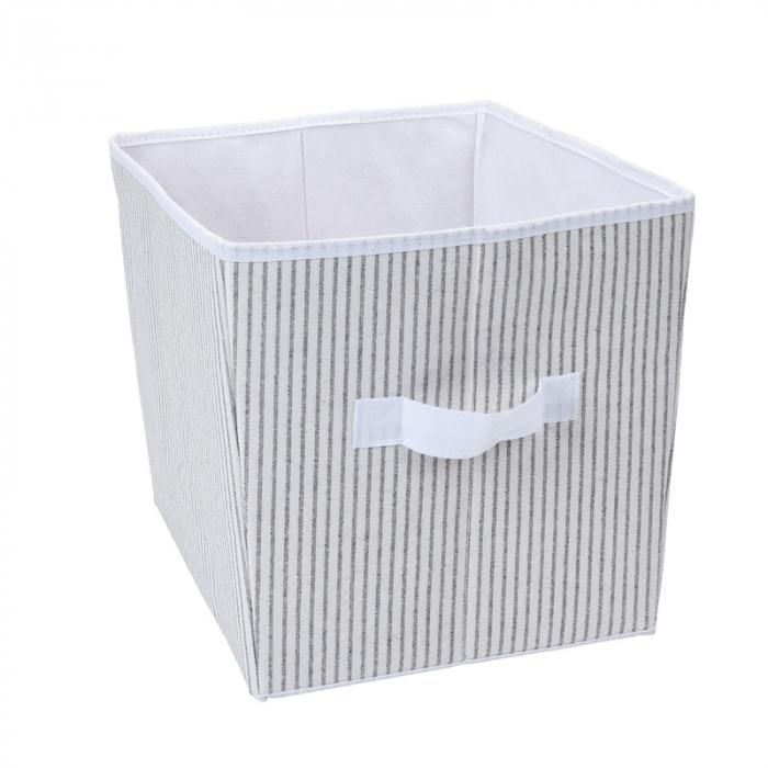 Cutie organizare, din bumbac si poliester, Alba cu dungi Gri, 39x30x24 cm [0]