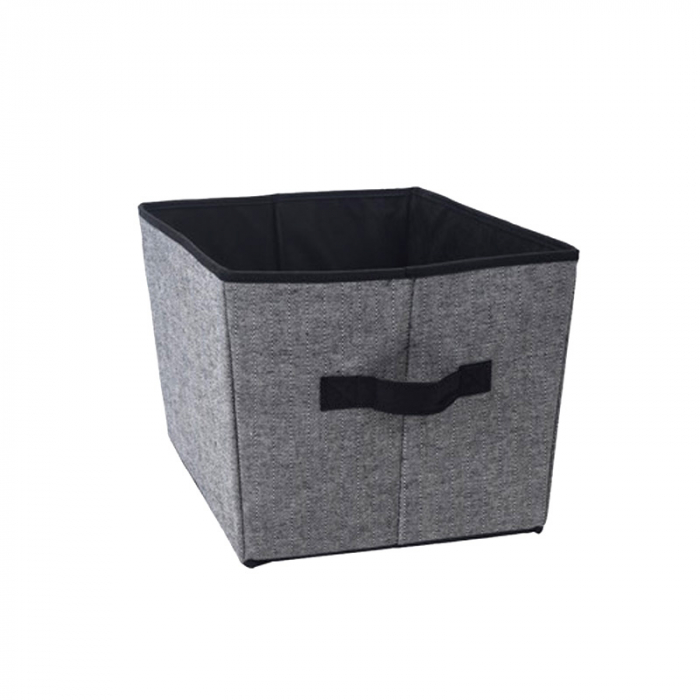 Cutie organizare, din bumbac si poliester, Gri cu interior Negru, 39x30x24 cm 0