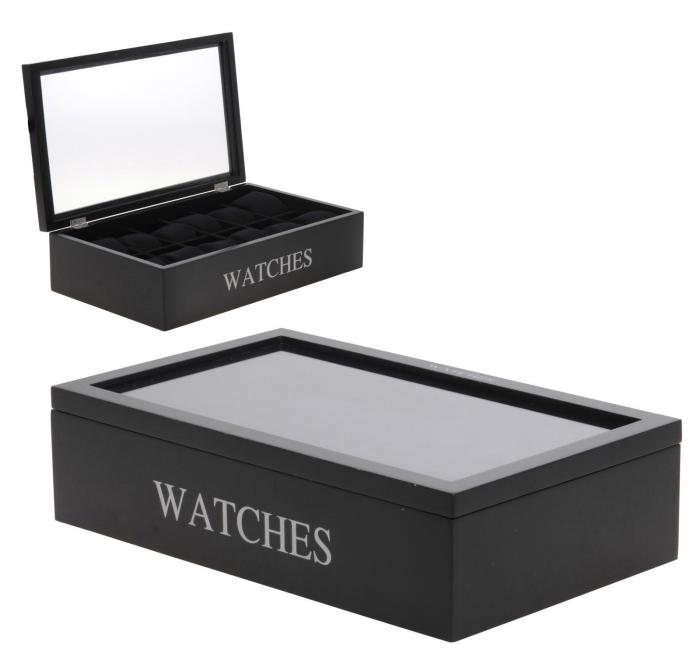 Cutie pentru 12 ceasuri, din MDF, culoare neagra, 34x20,5x9 cm [2]