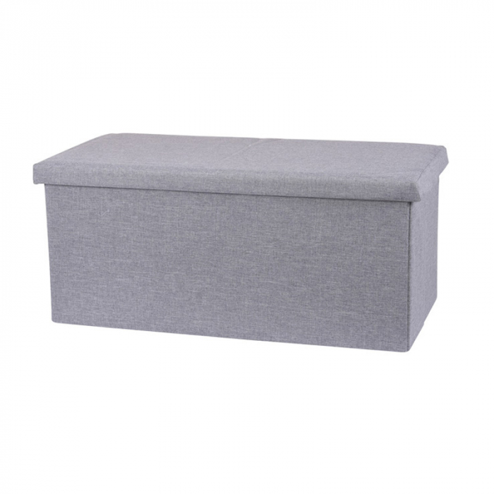 Cutie taburet, poliester cu depozitare, Gri deschis,  Dim 76x40x38 cm , capacitate  117 l 0