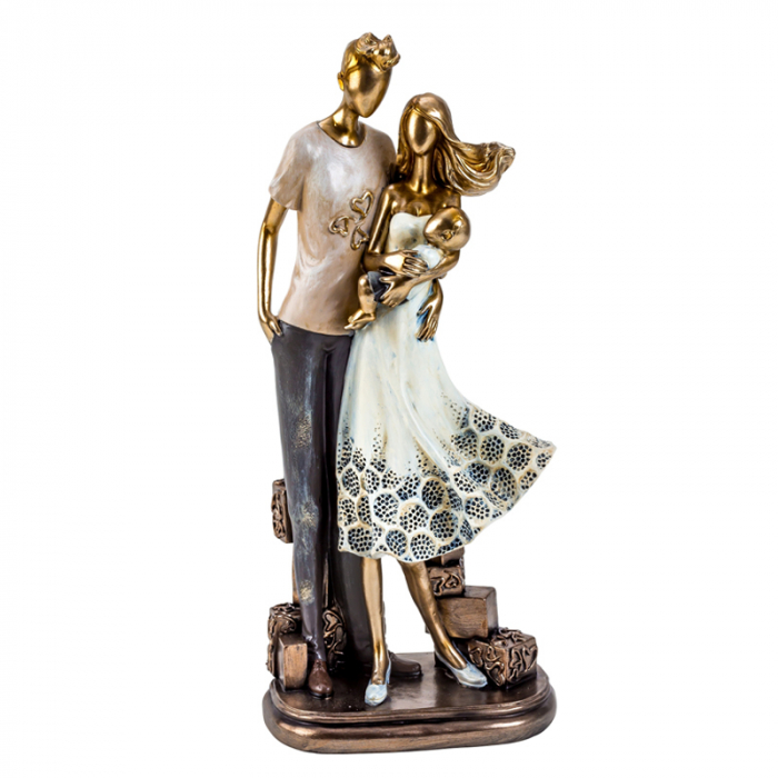 Decoratiune ceramica, model cuplu cu bebelus  33cm x15 cm [4]