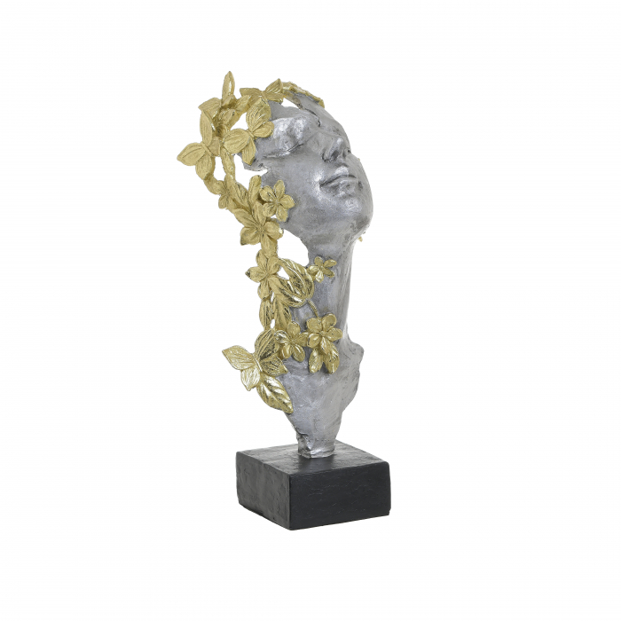 Decoratiune de masa din polirezina, fata femeie, Argintiu cu Auriu, 15x14x32cm [0]