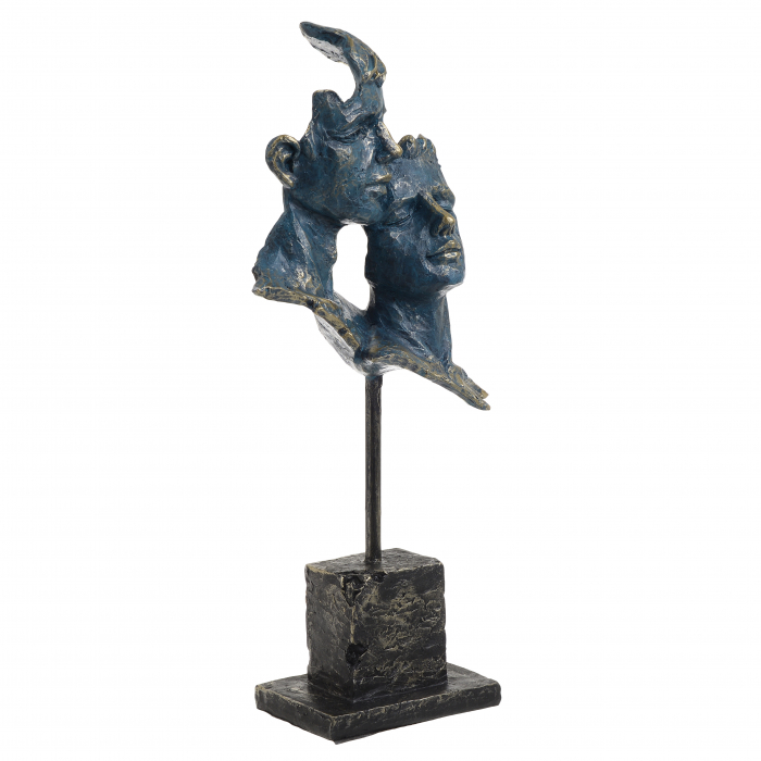 Decoratiune de masa, din polirezina, fete cuplu, bronz, Albastru Auriu, 16x7x34 cm 1