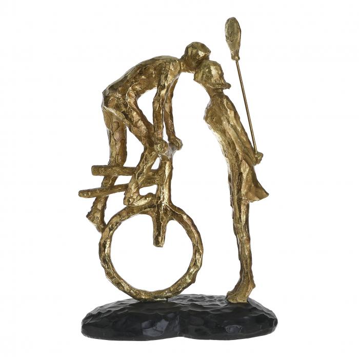 Decoratiune de masa, din polirezina, Cuplu Sarutandu-se, Auriu, 17x11x26 cm 1
