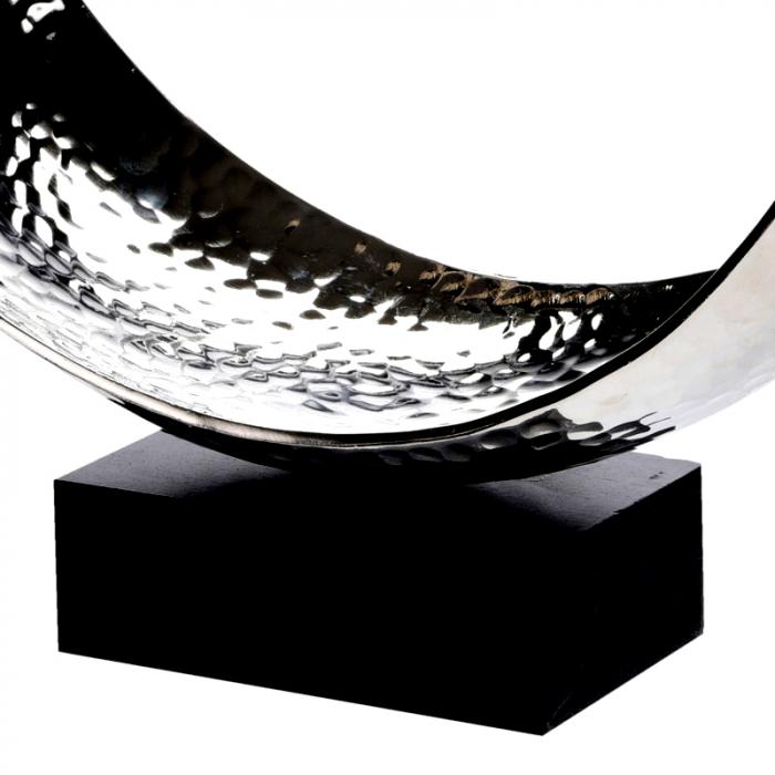 Decoratiune din aluminiu pe baza de lemn, dimensiune  25.5X27X10.5 cm 5