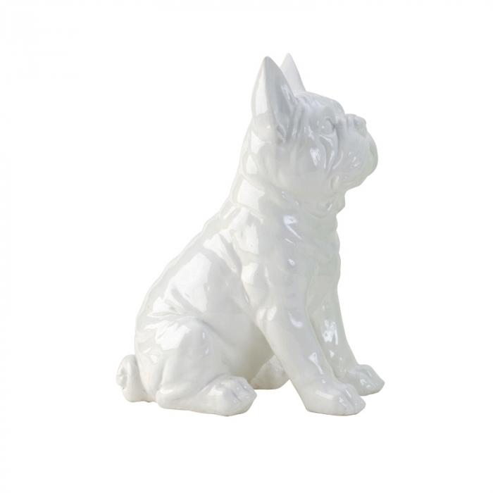 Decoratiune din rasina sintetica, model catel Buldog Francez, Alb, 29x20 cm 0