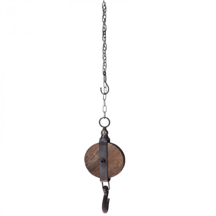 Decoratiune Scripete si Carlig 12 cm,din lemn cu lant metalic 1 m 0