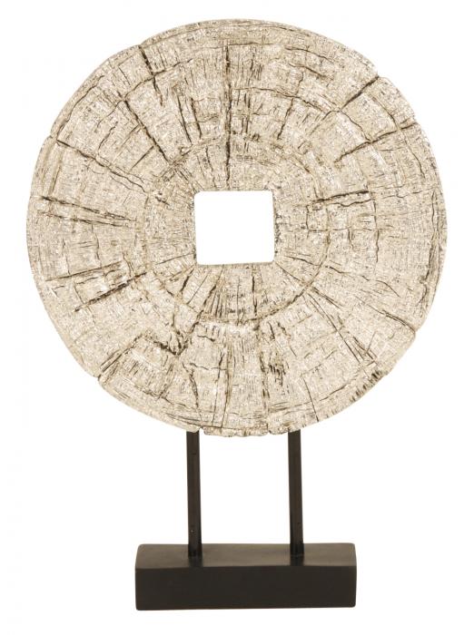 Decoratiune disc argintiu pe suport, diametru 33 cm [0]