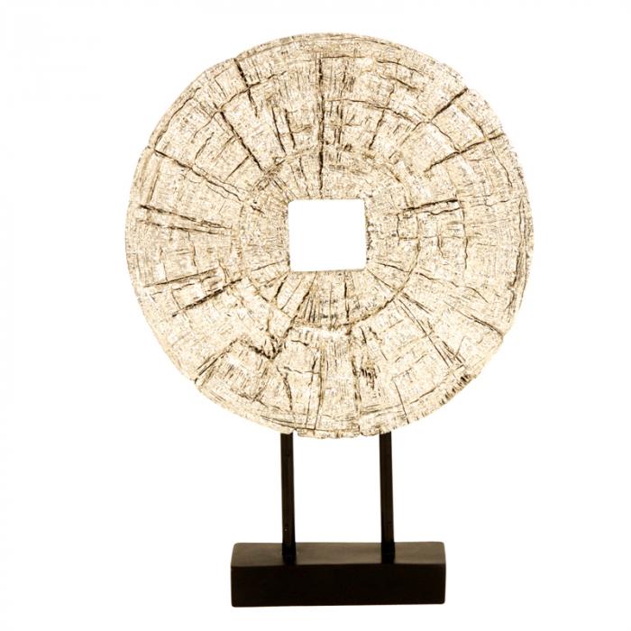 Decoratiune disc argintiu pe suport, diametru 33 cm [1]