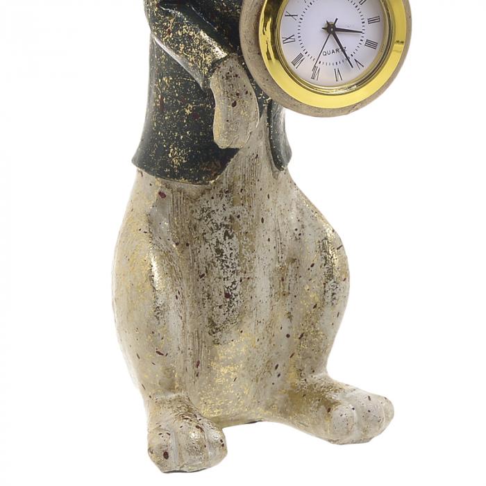 Decoratiune figurina iepure, din polirezina cu ceas, 12x7x22 cm [3]
