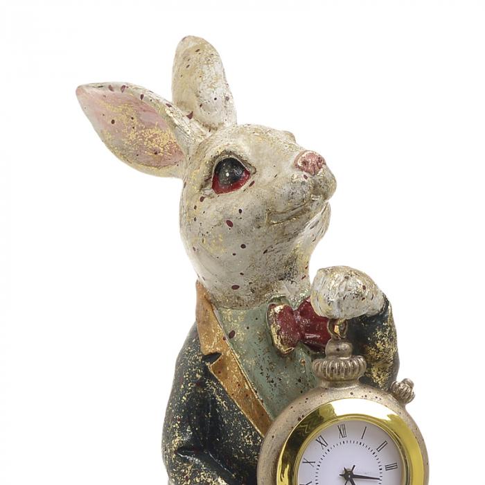 Decoratiune figurina iepure, din polirezina cu ceas, 12x7x22 cm [2]