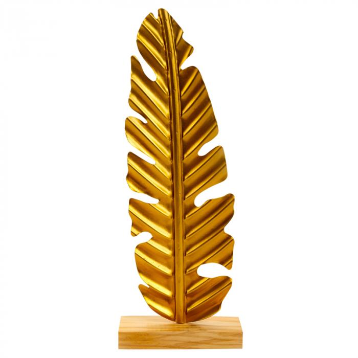 Decoratiune frunza, Aurie, din metal, pe un pedestal din lemn maro, 42.5x15.5 cm 0
