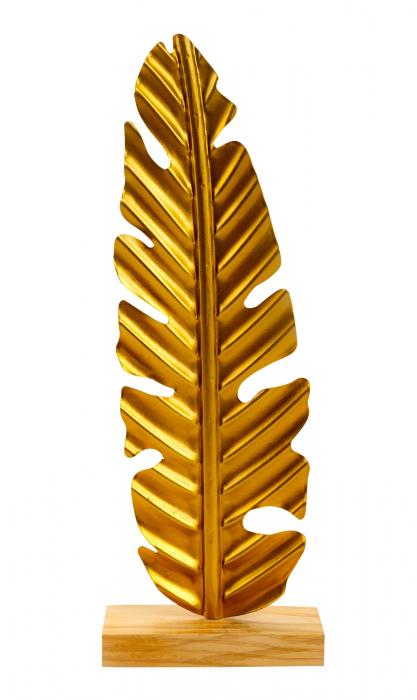 Decoratiune frunza, Aurie, din metal, pe un pedestal din lemn maro, 42.5x15.5 cm 1