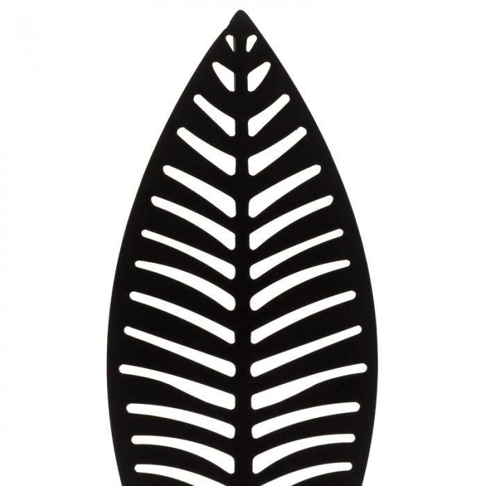 Decoratiune frunza Neagra, din metal, pe suport de lemn Maro, 25.5x12 cm 2