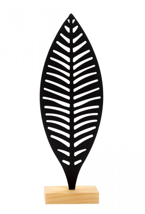 Decoratiune frunza Neagra, din metal, pe suport de lemn Maro, 25.5x12 cm 1