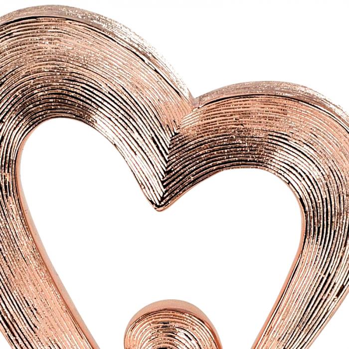 Decoratiune in forma de inima, culoare Cupru, pe un piedestal din lemn, 26 cm [4]