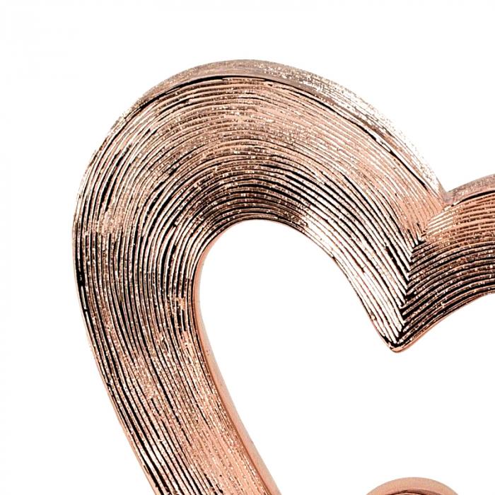 Decoratiune in forma de inima, culoare Cupru, pe un piedestal din lemn, 26 cm [3]